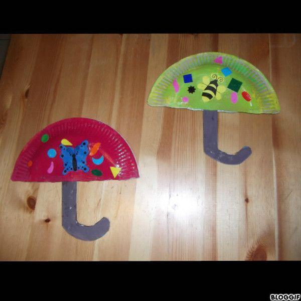 Parapluie parapluie avec assiette en carton - Bricolage avec des assiettes en carton ...